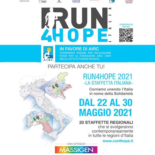 Run4Hope 2021. Prima edizione giro podistico solidale a staffetta